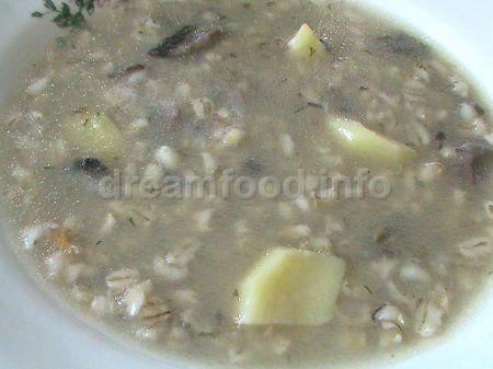 Суп с перловой крупой и грибами