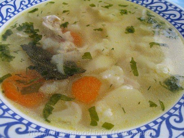 Суп с куриной грудкой и цветной капустой