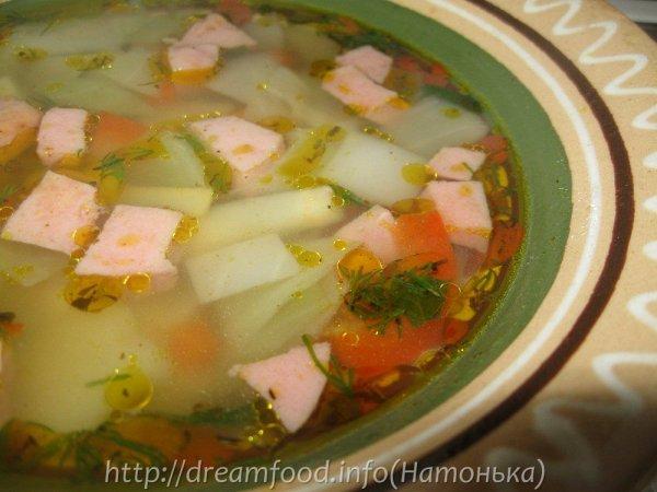 Суп простой из колбасы