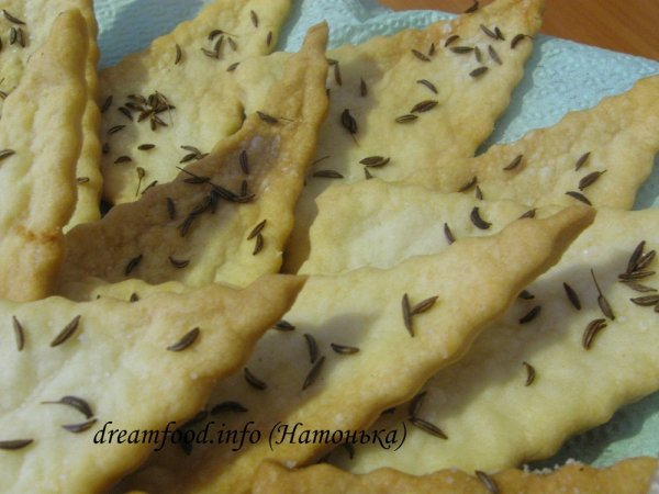 Соленое печенье с тмином на воде