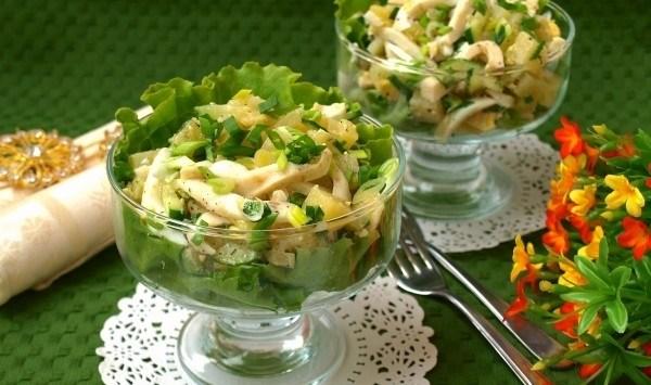 Разновидности овощных салатов с кальмарами